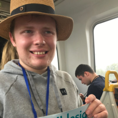 school leaver employment support participant harry sitting on the train